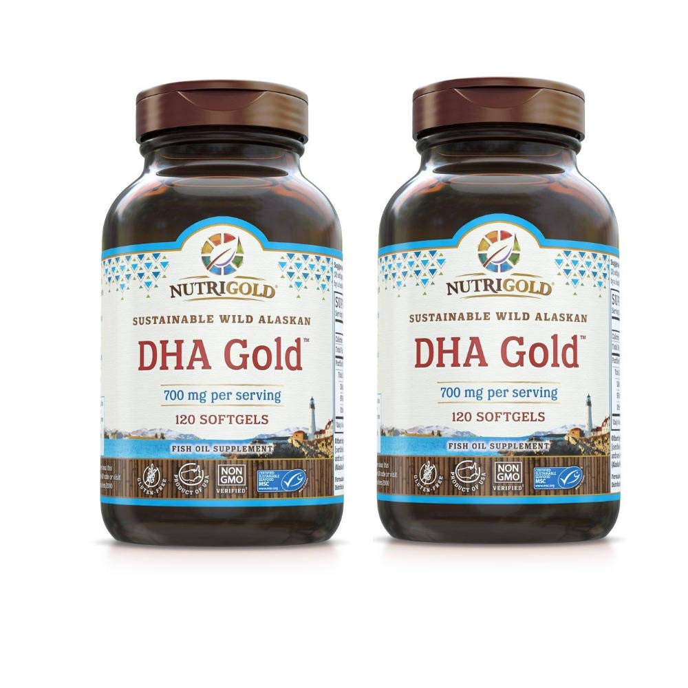 Nutrigold DHA Gold Sustainable Wild Alaskan Fish Oil Supplement 700 Miligrams Per Serving (120 Softgels) Pack of 2