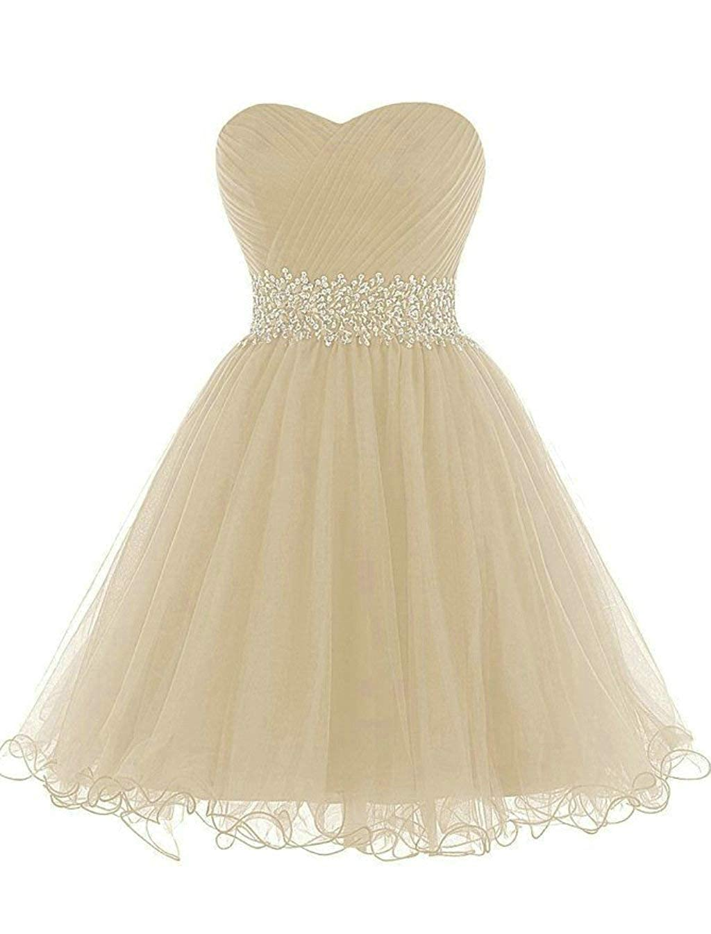 Champagne Vantexi Women's Beaded Tulle Short Prom Bridesmaid Dress Formal Party Gown