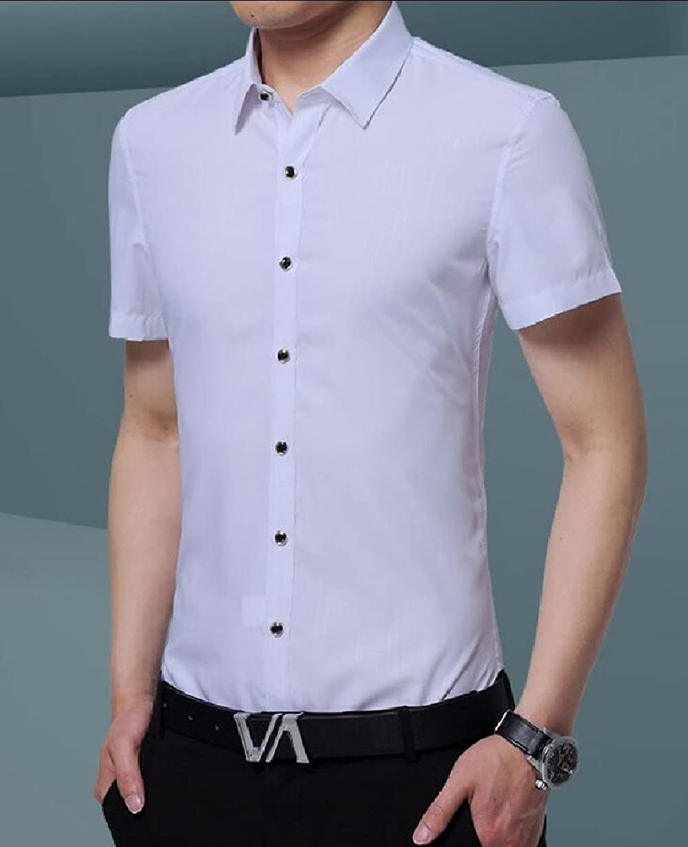 Keaac Mens Casual Slim Fit Dress Shirts Short Sleeve Button Down Shirt Top