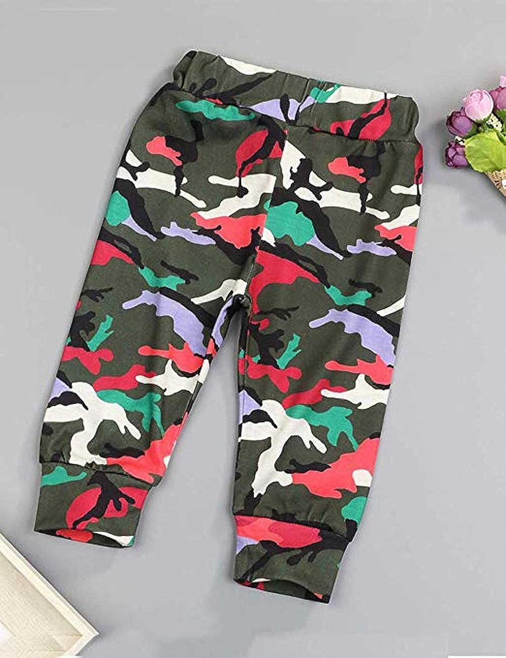 Xuefoo Conjunto de Ropa de Camuflaje para beb/é ni/ño Mameluco con Estampado de Letras para beb/és Sombrero para pantal/ón Conjunto de Traje de Mono reci/én Nacido