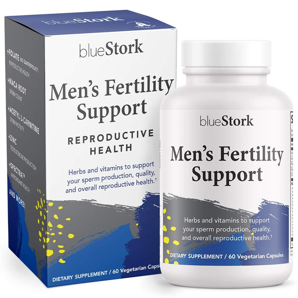 Blue Stork Men's Fertility Support: Fertility Multivitamin for Men, Maca Root to Support Fertility for Men, Reproductive Health, 60 Vegetarian Capsules