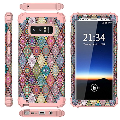 Galaxy Note 8 Case, Hocase Heavy Duty Shockproof Hybrid Hard Shell Silicone Bumper Protective Case with Cute Mandala Flower Pattern Design for Samsung Galaxy Note 8 (2017) - Rose Gold Pink Photo #7