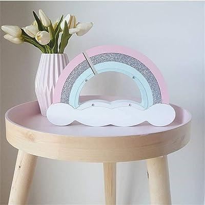 Quskto Banco de Dinero Olla de Ahorro Macarons de Madera Rainbow Piggy Bank Decoración de la habitación de los niños Accesorios de fotografía Creativa Ideal para Todas Las Edades niños: Hogar