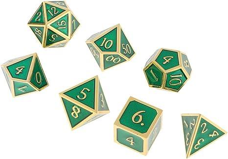 Hellery 7 Pedazos Dados de Metal de rol Poker Juego de Mesa D20 ...