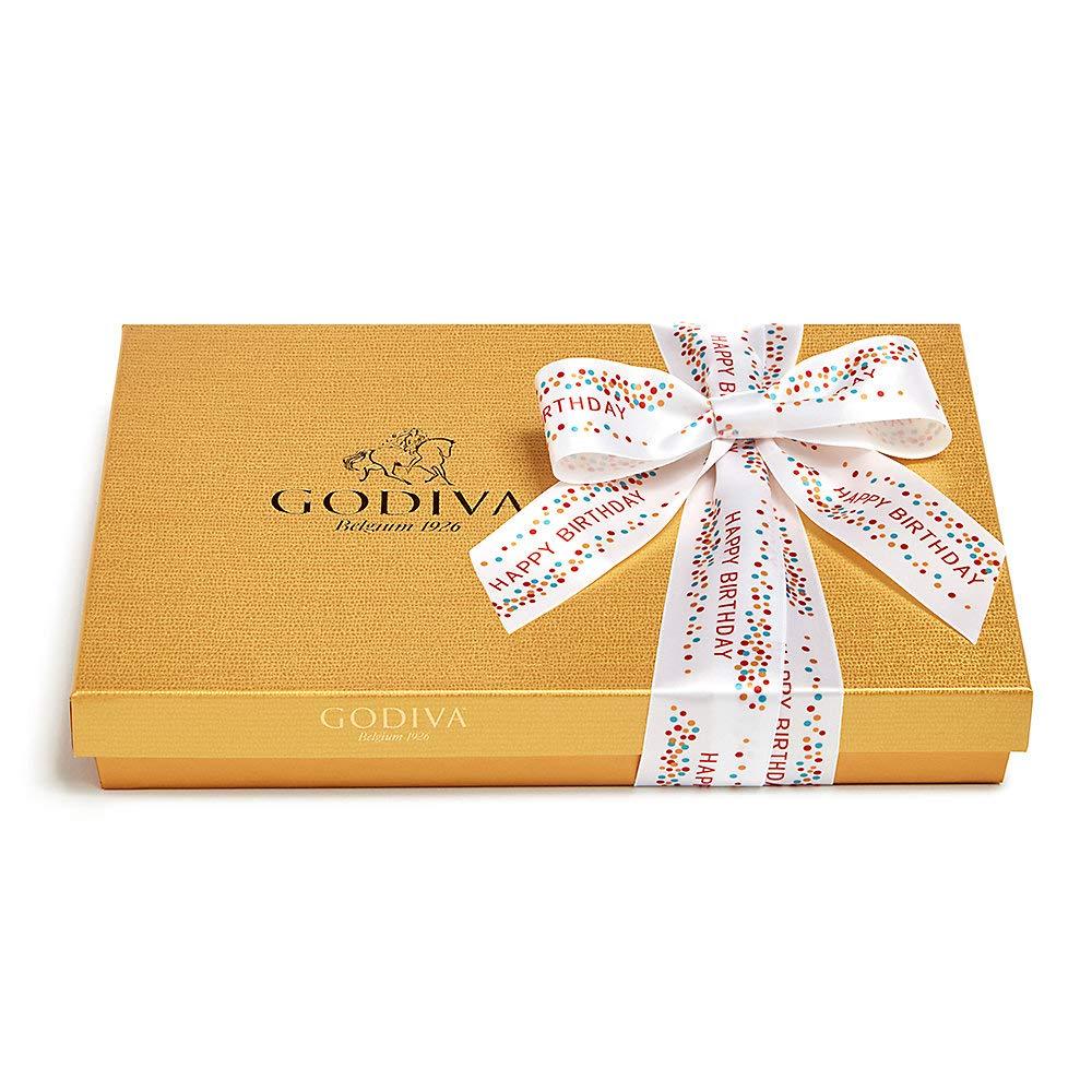 Godiva Chocolatier Assorted Chocolate Gold Gift Box, Happy Birthday Ribbon, Chocolate Birthday Gift, 36 pc by GODIVA Chocolatier