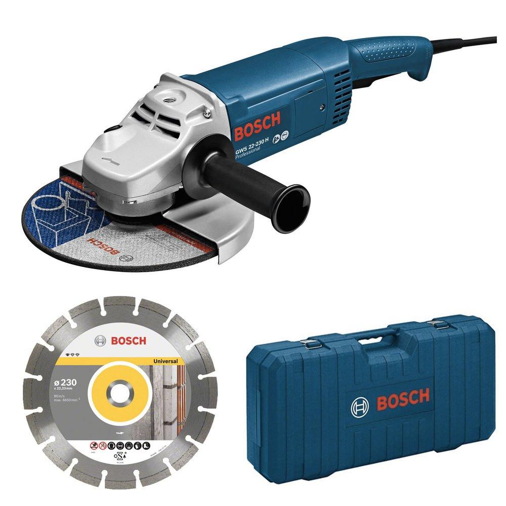 Bosch Professional GWS 22-230 JH ACE Smerigliatrice Angolare, 2200 W, 230 mm, con Disco Diamantato e Valigia, Blu product image