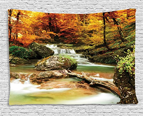 - Ambesonne Natural Waterfall Decor Collection, Autumn Creek Woods Trees Foliage Rocks In Forest, Bedroom Living Room Dorm Wall Hanging Tapestry, 80W X 60L Inch
