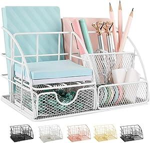 AUPSEN Desk Organizer, Mesh Office Supplies Desk Accessories, Features 5 Compartments + 1 Mini Sliding Drawer(White)