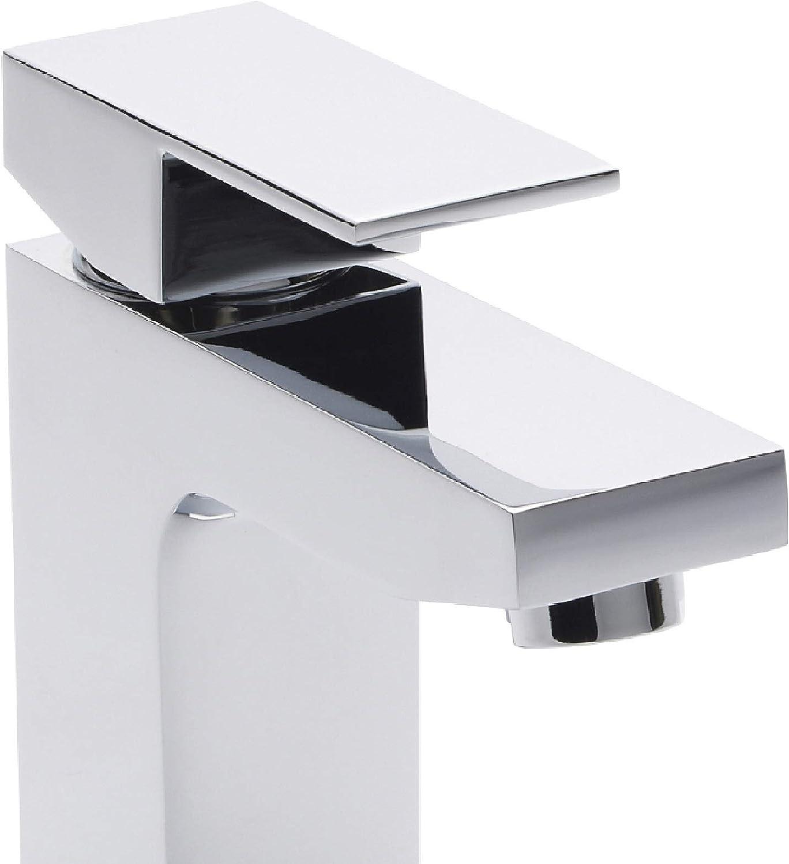 Chrome Hudson Reed ART315 Art Modern Square Bathroom Mono Waterfall Basin Mixer Tap with Free Push Button Waste