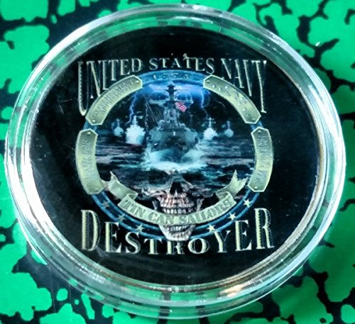 Destroyer Military - US Navy Destroyer Military Colorized Challenge Art Coin