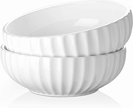 Dowan 9 75 Large Serving Bowls 85 Oz Ceramic Big Salad Fruit Bowl 2 7 Quart White Pasta Soup Bowl Set Of 2 Serving Bowls
