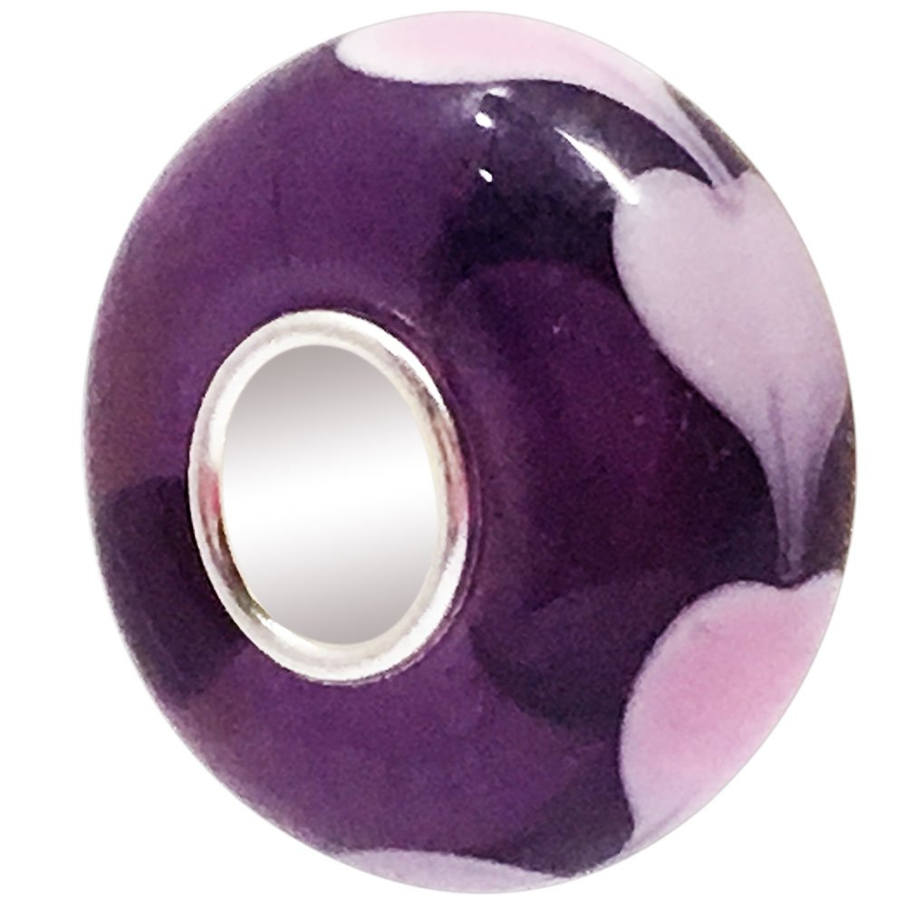 JMQJewelry Heart Mom Charm Purple Murano Bead For Charm Bracelets JMQG053