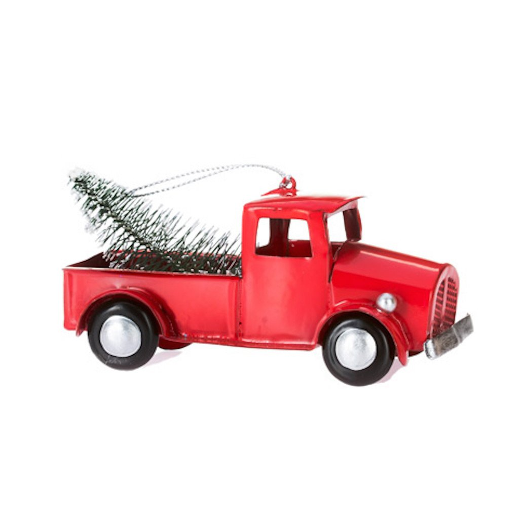 Old Truck With Christmas Tree.Vintage Old Red Toy Truck With Christmas Tree In Bed Ornament