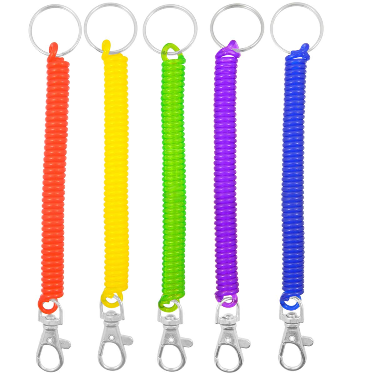 Shells 5PCS Blue Color Flexible Theftproof Spring Coil Safety Keychain with Clip Shells group