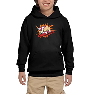 HUH HOODIES Good Luck Eat Chicken Youth Athletic Pullover Hoodies Funny Sweatshirts with Pocket
