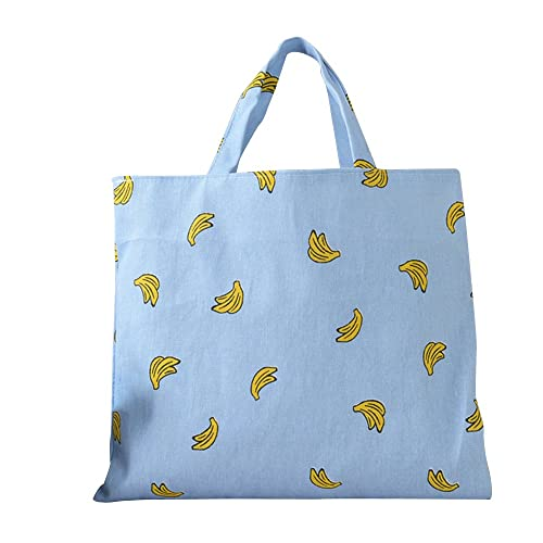 caixia women s cotton banana print blue canvas tote shopping bag