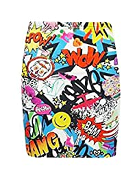 Fashion Essentials -Women Bodycon Short Bang Printed Mini Jersey Pencil Skirt