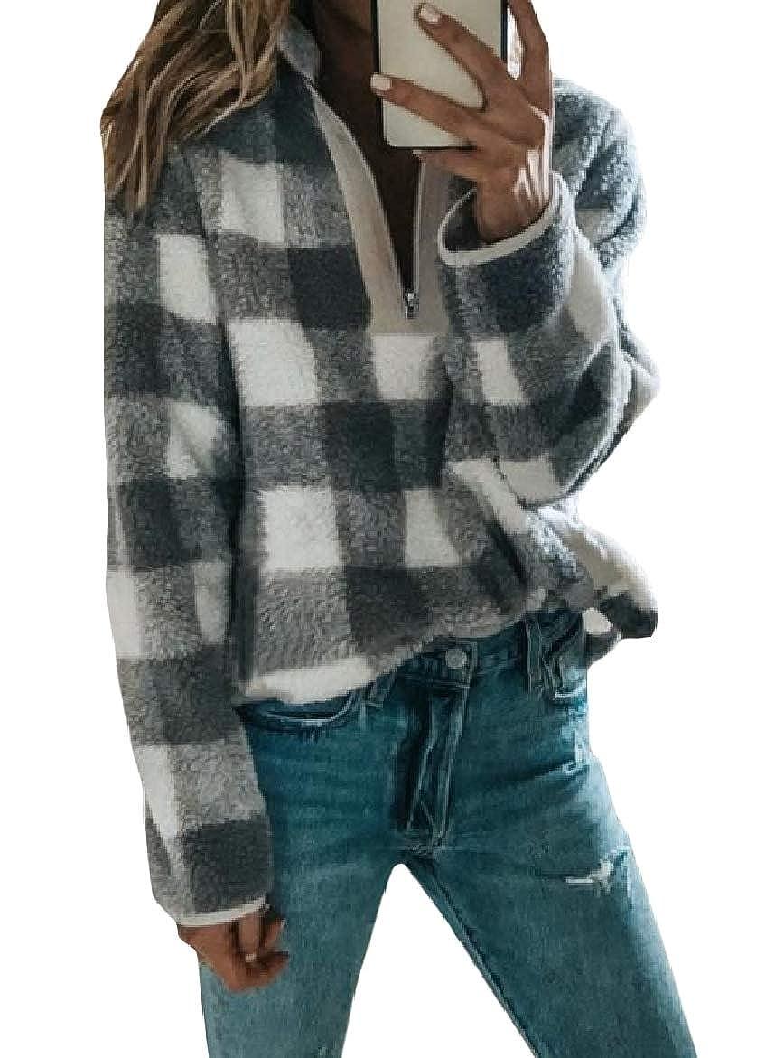 SportsX Womens High Neck Zip Up Loose Plaid Vogue Pocket Sweatshirt