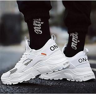 Zapatillas de Deporte para Hombres Calzado para Correr cómodo y Resistente al Desgaste Zapatillas Deportivas para Caminar con luz Blanca Negra: Amazon.es: Zapatos y complementos