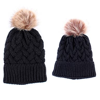 c3c262f08b6 2PCS Mother Baby Hat Family Matching Cap Winter Warmer Knit Wool Beanie Ski  Cap (Black)