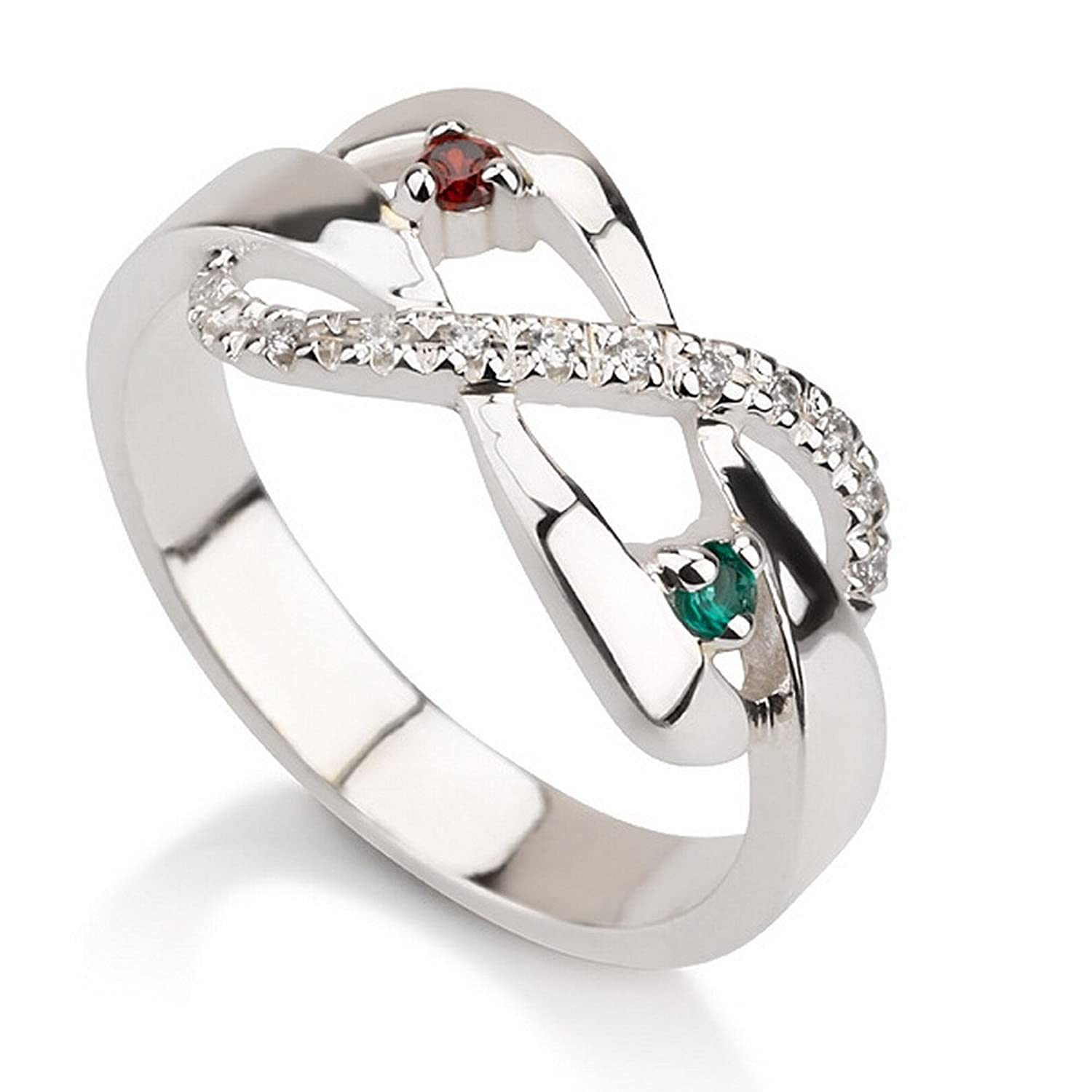 Amazon.com: Infinity Ring With Simulated Birthstones in Sterling ...