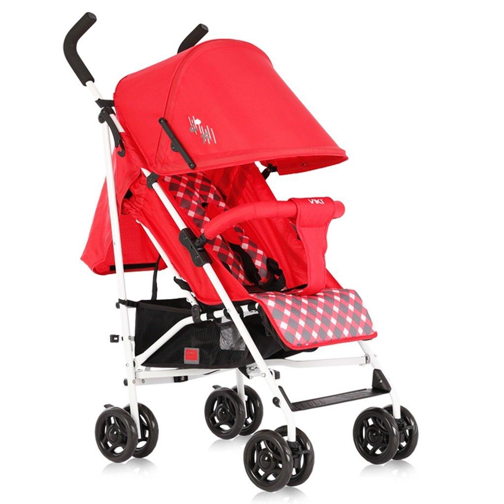 HAIZHEN マウンテンバイク ベビーカートライトウェイトは、折り畳み式調節可能な日除けトロリーを持たないことができます。ショッピングバスケット付きベビーキャリッジ62 * 47 * 104cmなし接着剤なしコットン5点シートベルト 新生児 B07DL6SQXH Red-1 Red-1