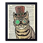 Edison The Steampunk Cat Vintage Wall Art Upcycled Dictionary Art Print Poster 8x10 inches, Unframed 4