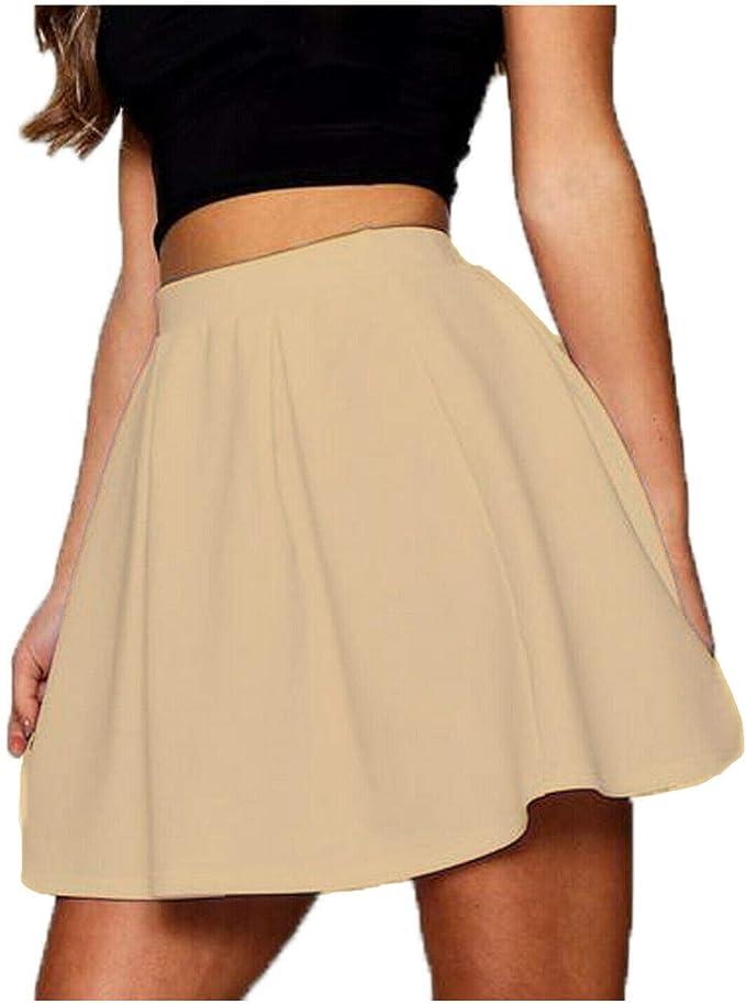 RSVH WS falda mini para mujer de nailon y licra, elástica, lisa ...