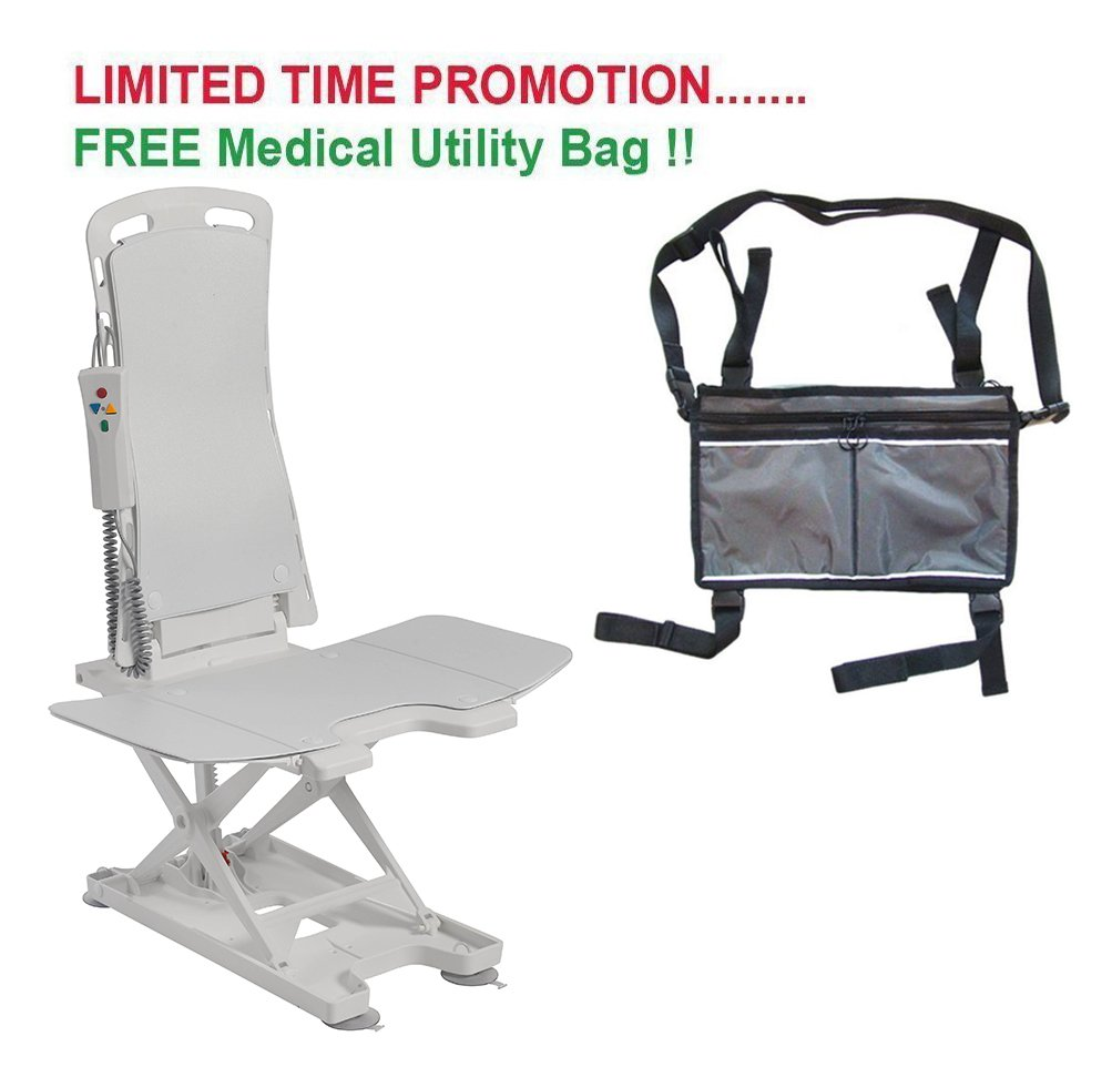 Drive Bellavita Tub Chair Seat Auto Bath Lift, White & FREE Medical Utility Bag Gray! - #477200252