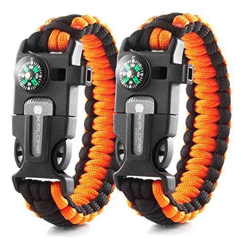 cy Paracord Bracelets | Set of 2| The Ultimate Tactical Survival Gear| Flint Fire Starter, Whistle, Compass & Scraper | Best Wilderness Survival-Kit - Orange(R)/Orange(R) ()