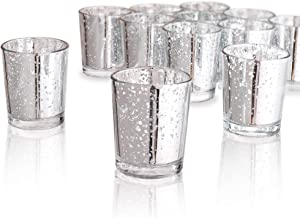 "Luxus Home Silvery Mercury Votive Candle Holder, Glass Tealight Candle Holders for Weddings, Parties and Home Decor(2.64"" H, 80PCS)"