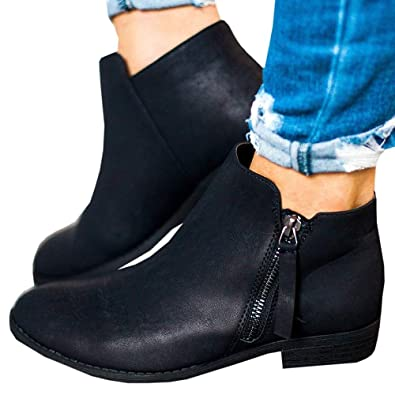 348025ecc642a Ankle Boots Women Flat Heeled Suede Leather Winter Block Heel Zip Ladies  Casual Comfortable Chelsea Chunky 2.5cm Low Shoes Beige Black 35-43:  Amazon.co.uk: ...