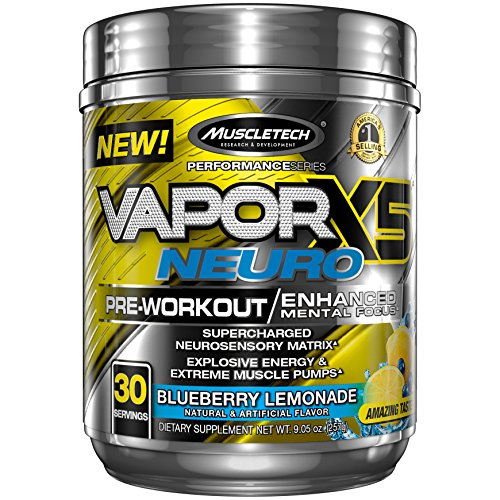 Nitro Fusion Berry - MuscleTech Vapor X5 Neuro Pre Workout Powder, Enhanced Mental Focus and Explosive Energy Supplement, Blueberry Lemonade, 30 Servings (9.6oz)