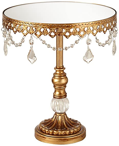 Universal Lighting And Decor Antique Gold Beaded Medium Cake Stand