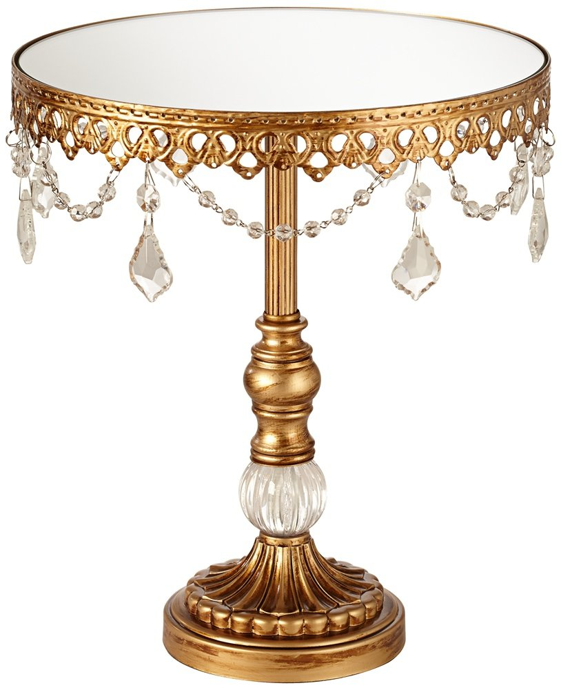 Dahlia Studios Antique Gold and Faux Crystal Mirror Top 12''H Cake Stand