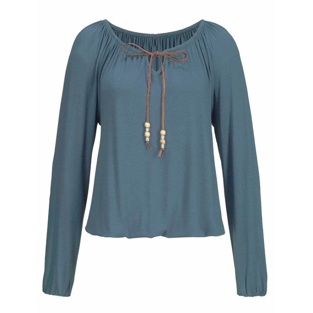 11064701e OverDose Camisetas Blusas Manga Larga para Mujer V Cuello Tops Bowknot  sólido Tallas Grandes
