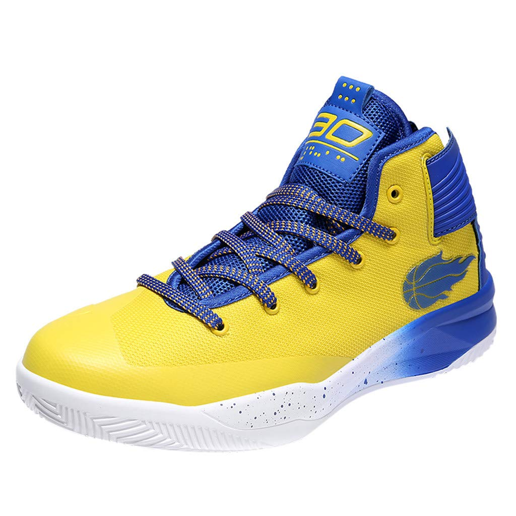 High-top Sneakers for Men 2019 Newest Casual Round Toe Fashion Lace-up Running Sports Shoes (US:8, Yellow)