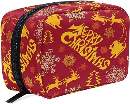 Árbol de Navidad Santa Mujer Cosméticos Bolsa de Maquillaje Xams Snowflake Reno Animal Niñas Lápices Estuche de Almacenamiento Bolsa de Neceser Kit de Viaje Joyería Organizador para Niños Estudiantes: Amazon.es: Equipaje