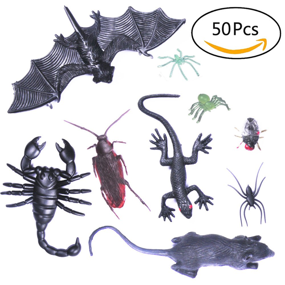 YueChen 50pcs Simulación de Insectos de plástico,Falsa cucarachas,Arañas,Escorpiones,Insectos Broma Juguetes Broma Miedo Truco Bugs para Fiesta, Halloween Fiesta y Decoración