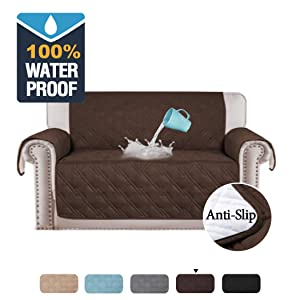 H.VERSAILTEX 100% Waterproof Sofa Cover for Living Room, Non-Slip Loveseat Covers for Dogs, Couch Covers for Pets Quilted Furniture Protector for Loveseat Stay in Place (Loveseat Medium: Brown)