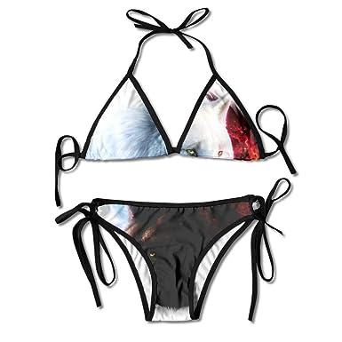 Amazon.com: Yin Yang - Bañador para mujer, diseño de lobo y ...