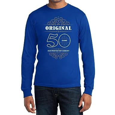 Geburtstag 50 Jahre - Original Zur Perfektion Gereift Geschenk Langarm T- Shirt Small Blau