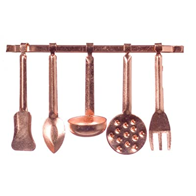 Dolls House Miniature Kitchen Accessory Copper Hanging Utensils & Rack 5055: Toys & Games