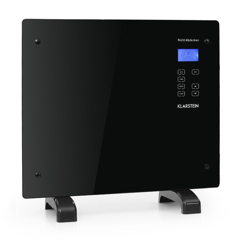 Klarstein HT006GL • Radiador eléctrico • Calefactor • Convector de 1000 W • Panel LED Touch • Vidrio de Seguridad • Tiempo programable • Control Parental • Posible para Montar en Pared • Color Negro