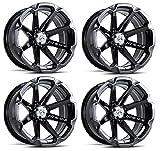 MSA M12 Diesel ATV Wheels/Rims Black 14'' Honda Foreman Rancher SRA Solid Axle(4)