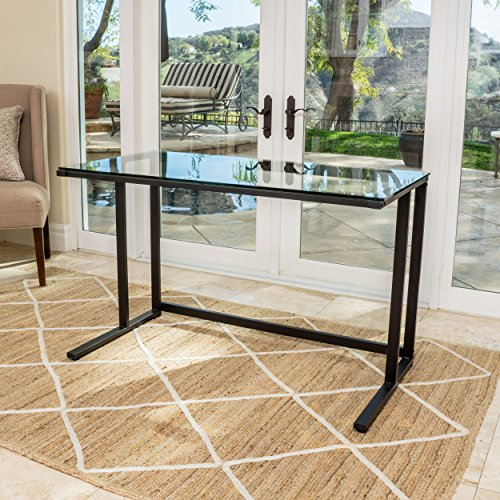 Glass Wide Computer Desk - Christopher Knight Home 296626 Eghan Clear Tempered Glass Computer Desk, Black