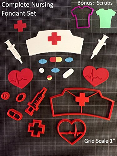 Nurse  Doctor Fondant Cutter/Cupcake amp Cookie Topper  8pc Set