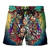 YX GIRL Rick Morty Shorts Unisex 3D Printed Summer Casual Shorts (L/XL, R-MD1)