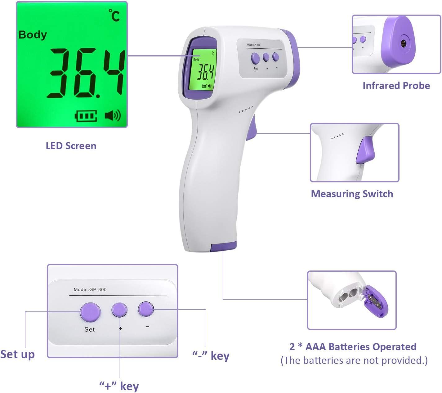 conception de prise en main daffichage /à LED de mesure de temp/érature frontale Tickas Thermom/ètre infrarouge sans contact num/érique
