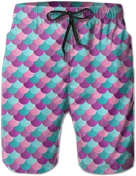 Amazon.com: Boys Board Shorts Mermaid Fish Scales Purple Quick Dry Swim  Surf Trunks: Clothing